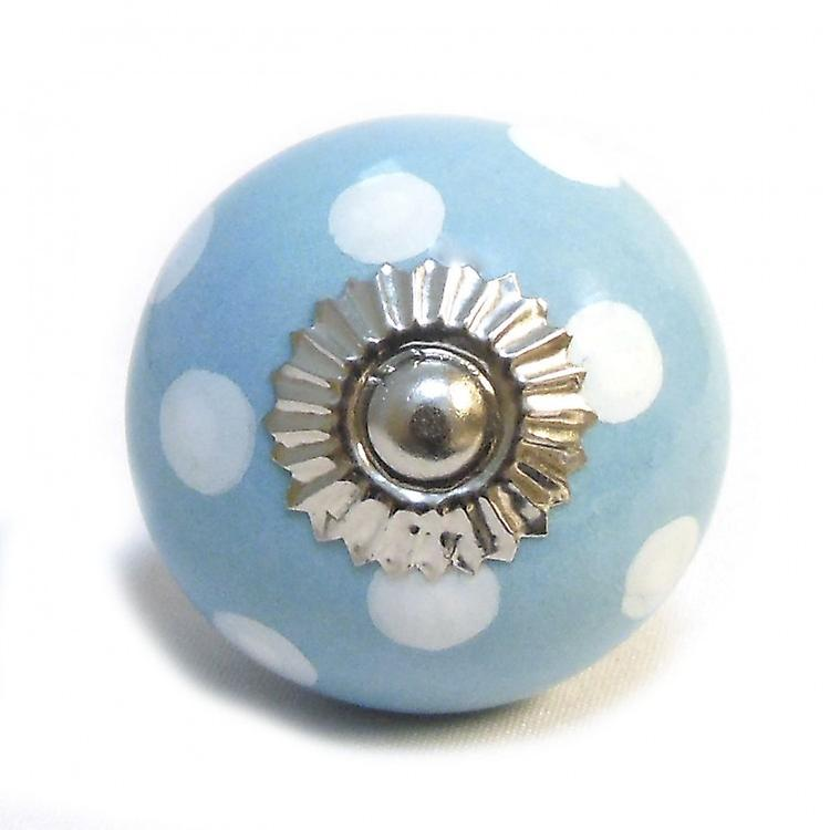 Blue / White Spots Ceramic Cupboard Knob