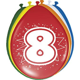 Coloridos globos globo número 8 cumpleaños globos decoración St 8 fiesta