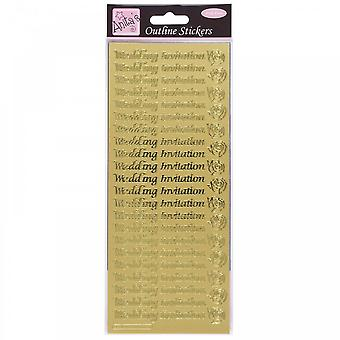 Anita's Outliner Stickers Wedding Invitation Gold