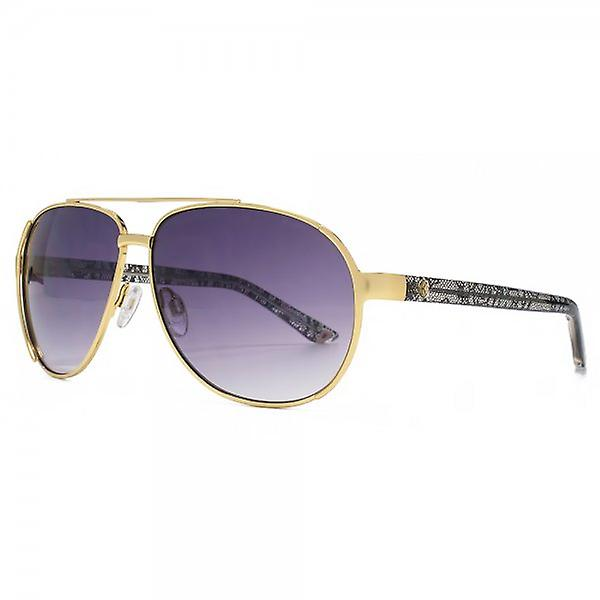 Kurt Geiger Emily Aviator Sunglasses In Matte Gold & Lace Print