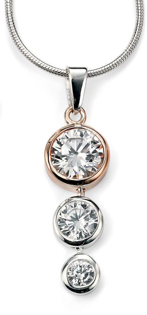 925 серебряные Роуз Позолоченные и цирконий ожерелье тенденция