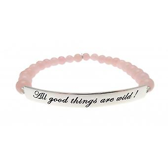 W.A.T 925 Sterling Silver 'All Good Things Are Wild' Hot Pink Jade Bracelet