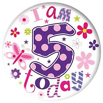 Simon Elvin Childrens/Girls I Am 5 Today Giant Badge