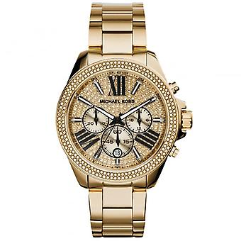Michael Kors Watches Mk6095 Wren Crystal Dial & Gold Tone Stainless Steel Chronograph Ladies Watch