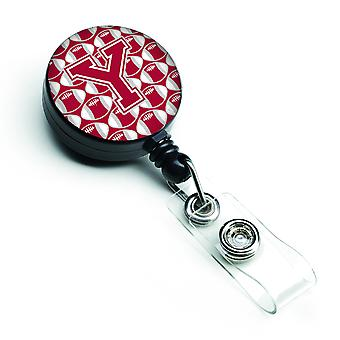 Letter Y Football Crimson, grey and white Retractable Badge Reel