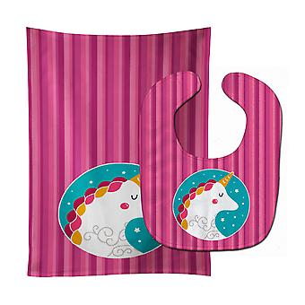 Carolines Treasures  BB7139STBU Unicorn Pink Stripes Baby Bib & Burp Cloth