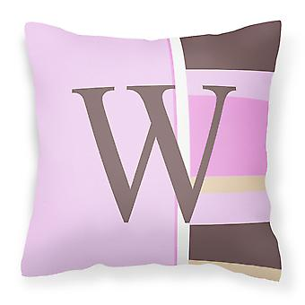 Letter W Initial Monogram - Pink Stripes Decorative   Canvas Fabric Pillow