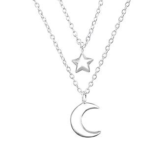Moon And Star Layered - 925 Sterling Silver Plain Necklaces - W32998X