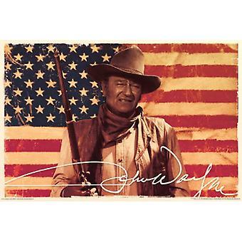 John Wayne - American Flag Poster Poster Print