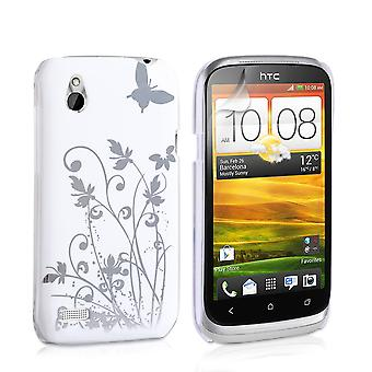 Yousave HTC Desire X Floral Butterfly Hard Case - White-Silver
