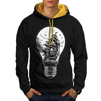 Ship Lightbulb Fashion Men Black (Gold Hood) Contrast Hoodie | Wellcoda