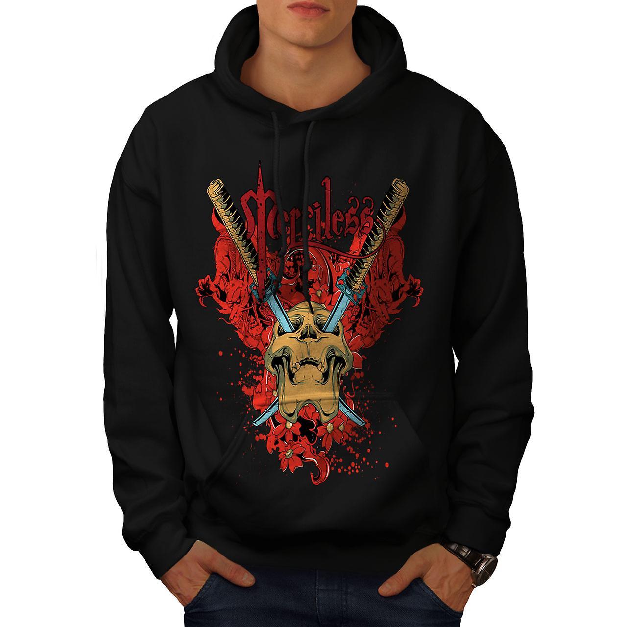 Merciless Flower Skull Men Black Hoodie | Wellcoda