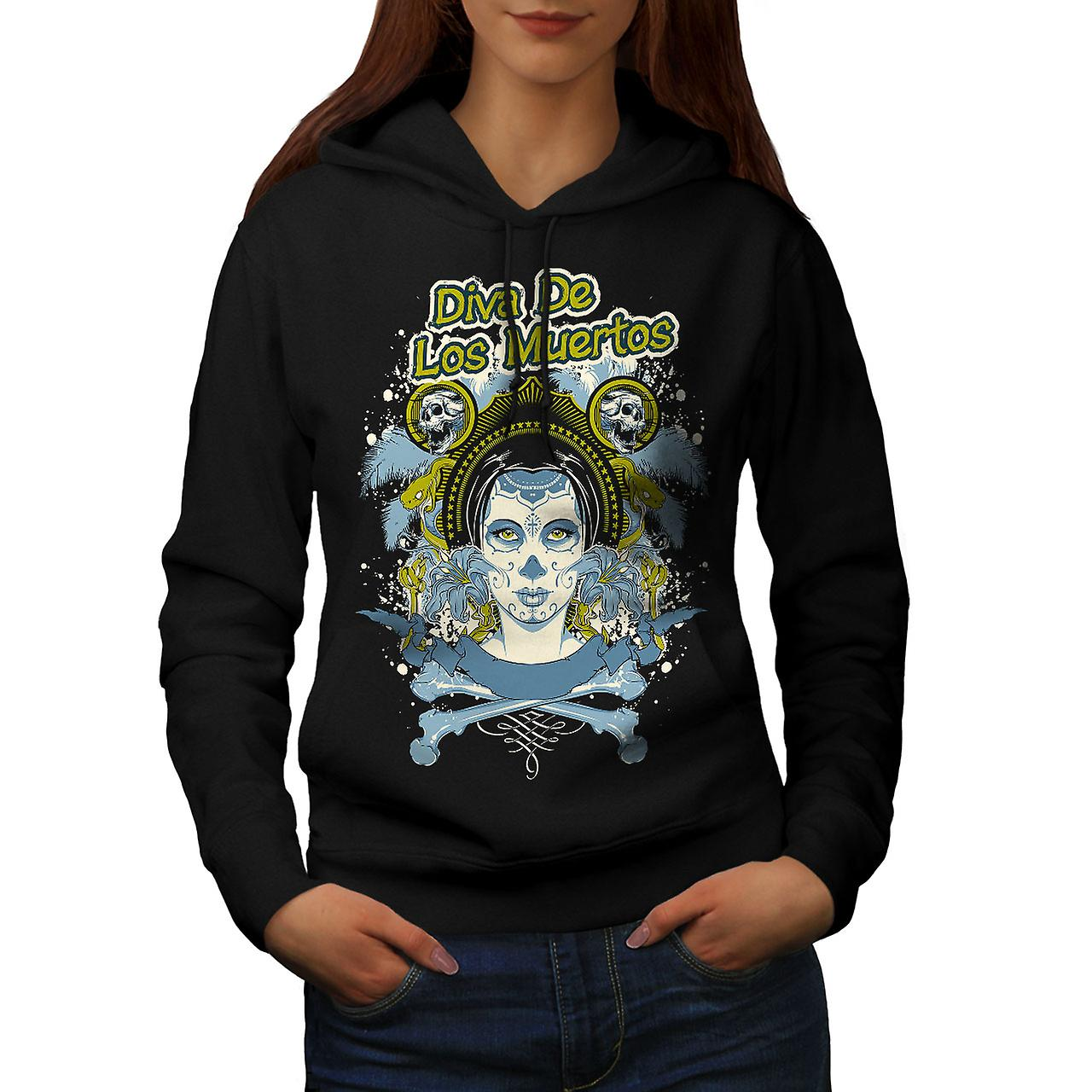 Los Muertos Diva Skull Women Black Hoodie | Wellcoda