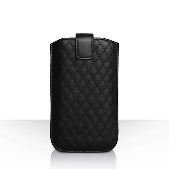 Caseflex Diamond patroon Pull tabblad rijgtasje (L) - zwart