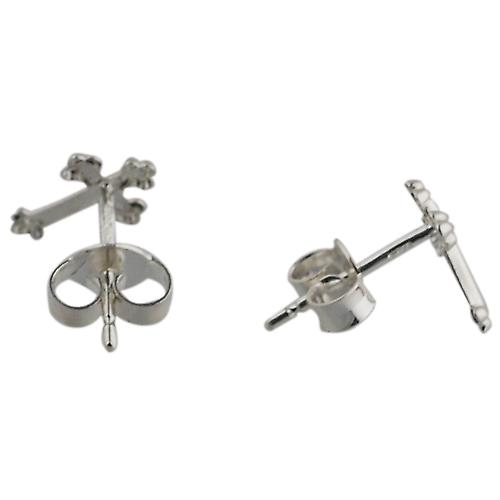 Silver 10x7mm Cross stud Earrings
