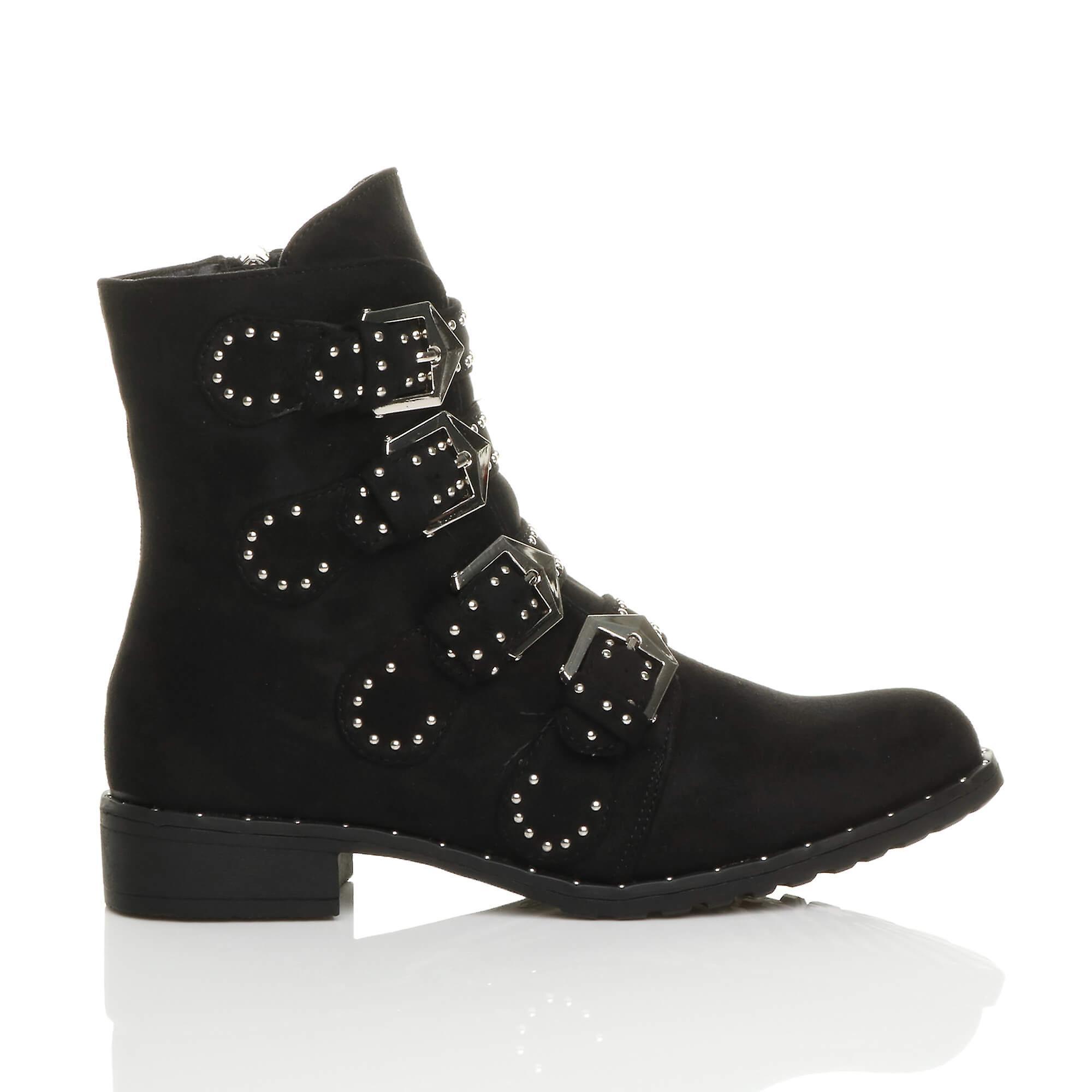 heel buckle western block biker womens studded low Ajvani boots strap ankle UwXqtPOKx