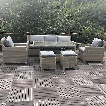 Royalcraft Wentworth Rattan Dining Sofa Set With Adjustable Table