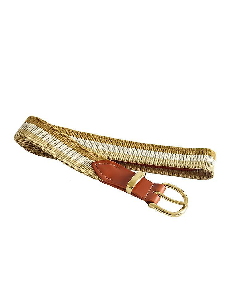 White And Beige Stripes Woven Canvas Belt