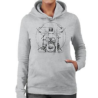 Uomo vitruviano Drum felpa con cappuccio Kit nero linee donna