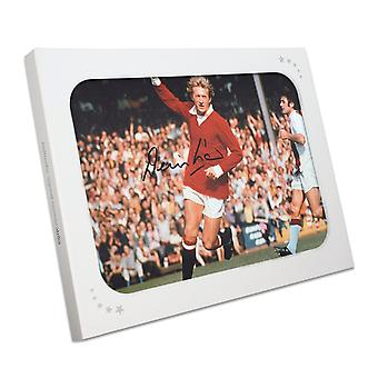 Denis Law Signed Manchester United Photograph In Gift Box
