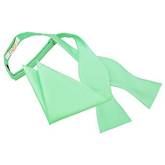 Mint Green Solid Check Self-Tie Bow Tie & Pocket Square Set