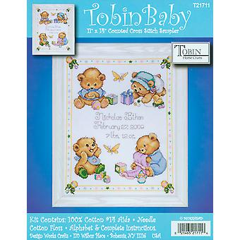 Baby Bears Birth Record Counted Cross Stitch Kit-11