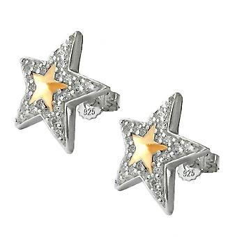 Star earrings studs of bicolor earrings Silver Star cubic zirconia 925 Silver
