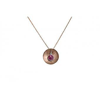 Damen - Halskette - Anhänger - 925 Silber - Rose Vergoldet - SCHALE - Rubin - Rot - 45 cm