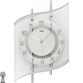 Wall clock radio radio controlled wall clock analog silver modern AMS 5506 swinging with glass