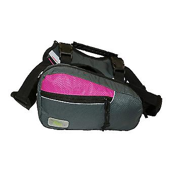 Verse huisdier 2 In 1 hond Harness Trail Pack Fuchsia / grijs groot