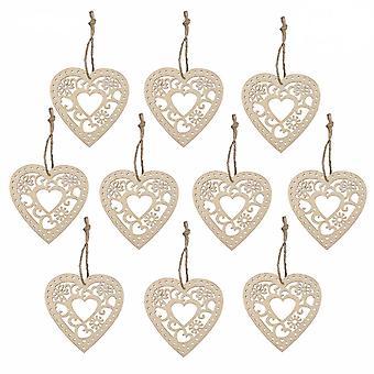 TRIXES Wooden Heart Hearts Decoration Pendants 10pcs Pack