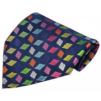 Posh and Dandy Diamond Shape Pocket Square - Navy/Multi-colour