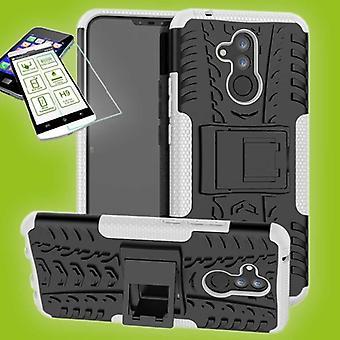Für Huawei Mate 20 Lite Hybrid Case 2teilig Weiß + 0,26 mm 2.5D H9 Hartglas Tasche Hülle Cover Hülle