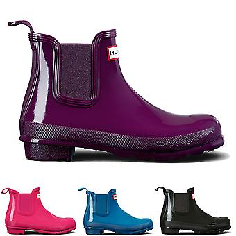 Womens Hunter Original Chelsea Gloss Rubber Waterproof Snow Ankle Boots