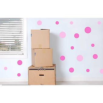 Full Colour Set of 19 Pink Polka Dot Spots Wall Stickers