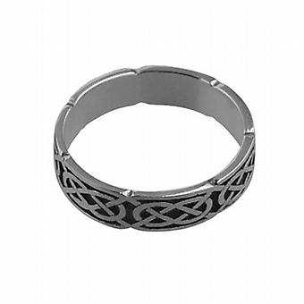 Silver oxidized 4mm Celtic Wedding Ring Size Q