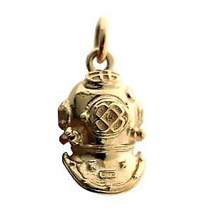 9ct Gold 18x12mm solid Deep Sea Divers Helmet Pendant or Charm