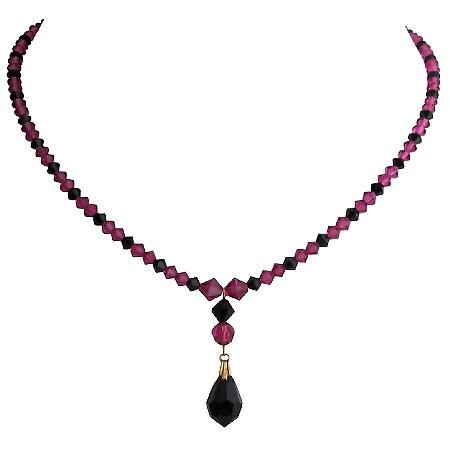 Swarovski Fuchsia Crystals Necklace with Jet Crystal Teardrop