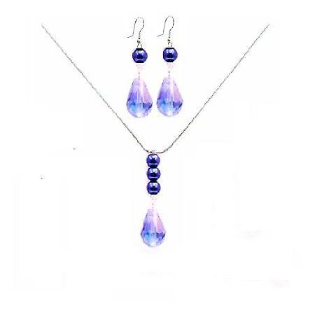 Crystal Teardrop Necklace Set Lite AB Lite Sapphire Teardrop Necklace Set Wedding Jewelry Set