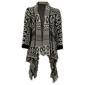 Ladies Long Sleeved Aztec Stripe Tassled Warm Oversized Women's Cardigan