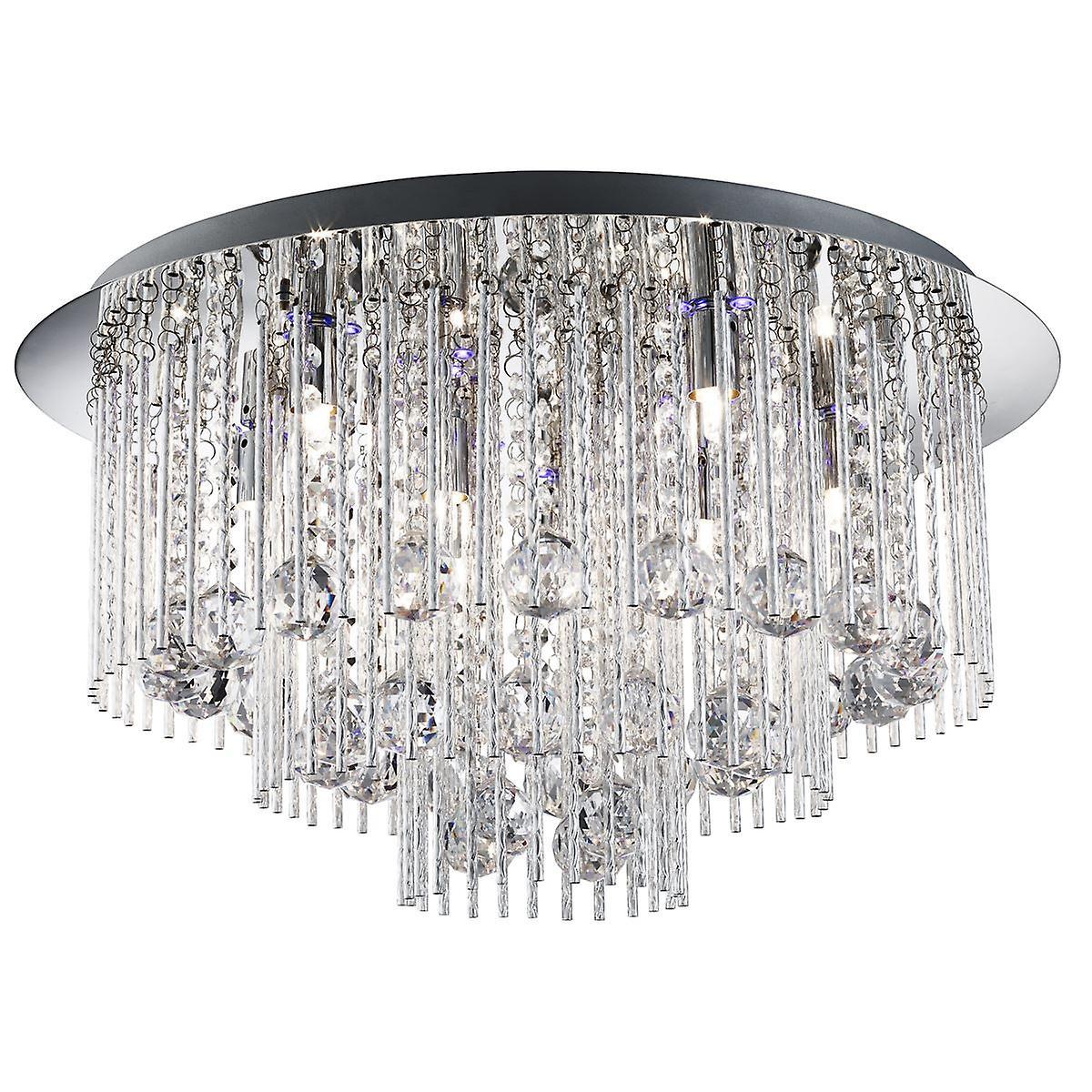 Beatrix Chrome et cristal léger huit ras du raccord avec LED - projecteur 9198-8CC