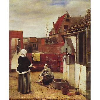 A Woman and her Maid in the Courtyard, Pieter de Hooch, 50x40cm