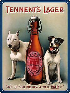 Tennents Lager Dogs embossed metal sign