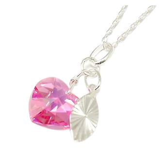 Toc Sterling Silver Pink Crystal Heart and Charm Pendant on 18 Inch Chain