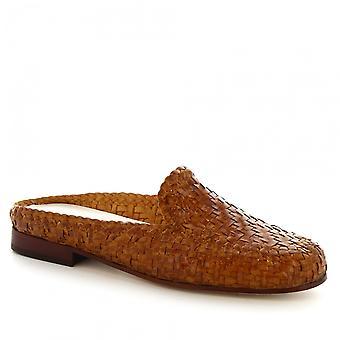 Chaussures mules à la main de Leonardo chaussures femmes en cuir beige lisse tissés à la main