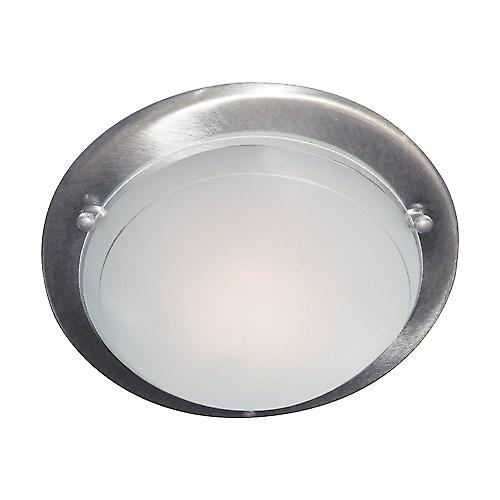 Searchlight 702SS Flush Satin Silver 30cm Mounted Ceiling Light Clear Glass