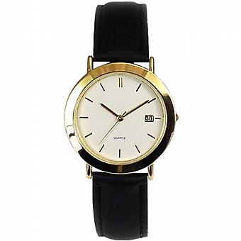 Gents Gold Tone Calendar Black Leather Strap Dress Watch GOWT116