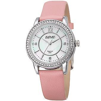 August Steiner Women's Diamond Crystal Silver-Tone/ Pink Leather Bracelet Watch AS8227PK