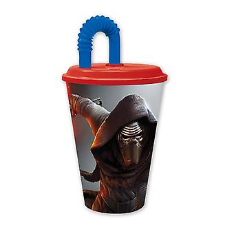 Star Wars VII Drinking Mug Kylo Ren colorful, printed, with red lid, made of polypropylene, with straw.