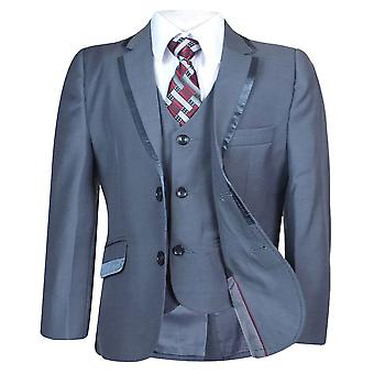 Boys All in One Grey Slim Fit Page Boys Suit, Wedding, Party, Prom by Milano